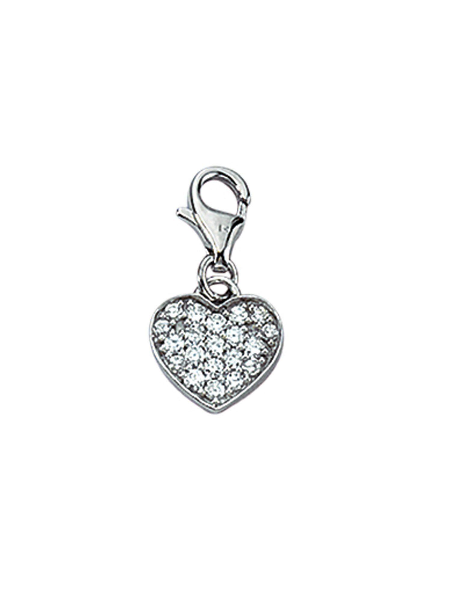 Adelia´s Charm-Einhänger »Silber Anhänger«, Herz 925 Sterling Silber mit Zirkonia