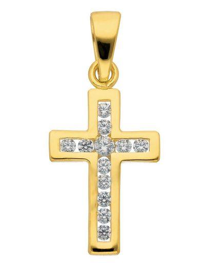Adelia´s Kettenanhänger »Gold 9 k (375) Kreuz Anhänger« 9 k 375 Gelbgold mit Zirkonia