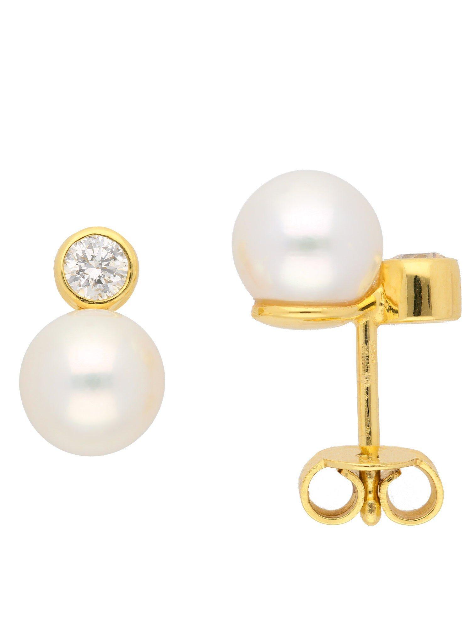 Adelia´s Paar Ohrstecker »Gold Ohrringe« 14 k 585 Gelbgold mit Süßwasser Zuchtperle | Schmuck > Ohrschmuck & Ohrringe > Ohrstecker | Adelia´s