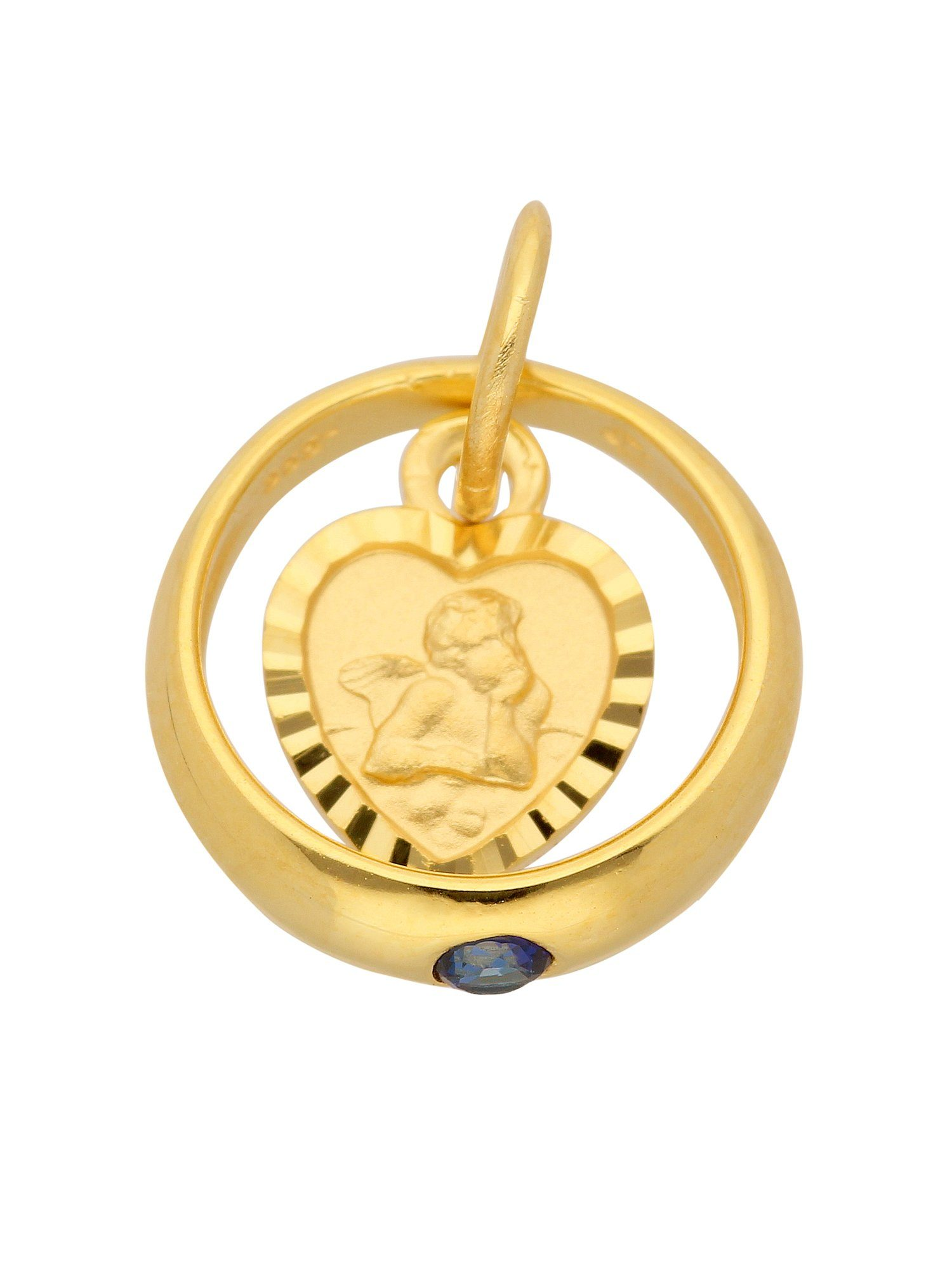 Adelia´s Kettenanhänger »Gold Anhänger« Taufring 8 k 333 Gelbgold mit Safir Ø 1.06 cm