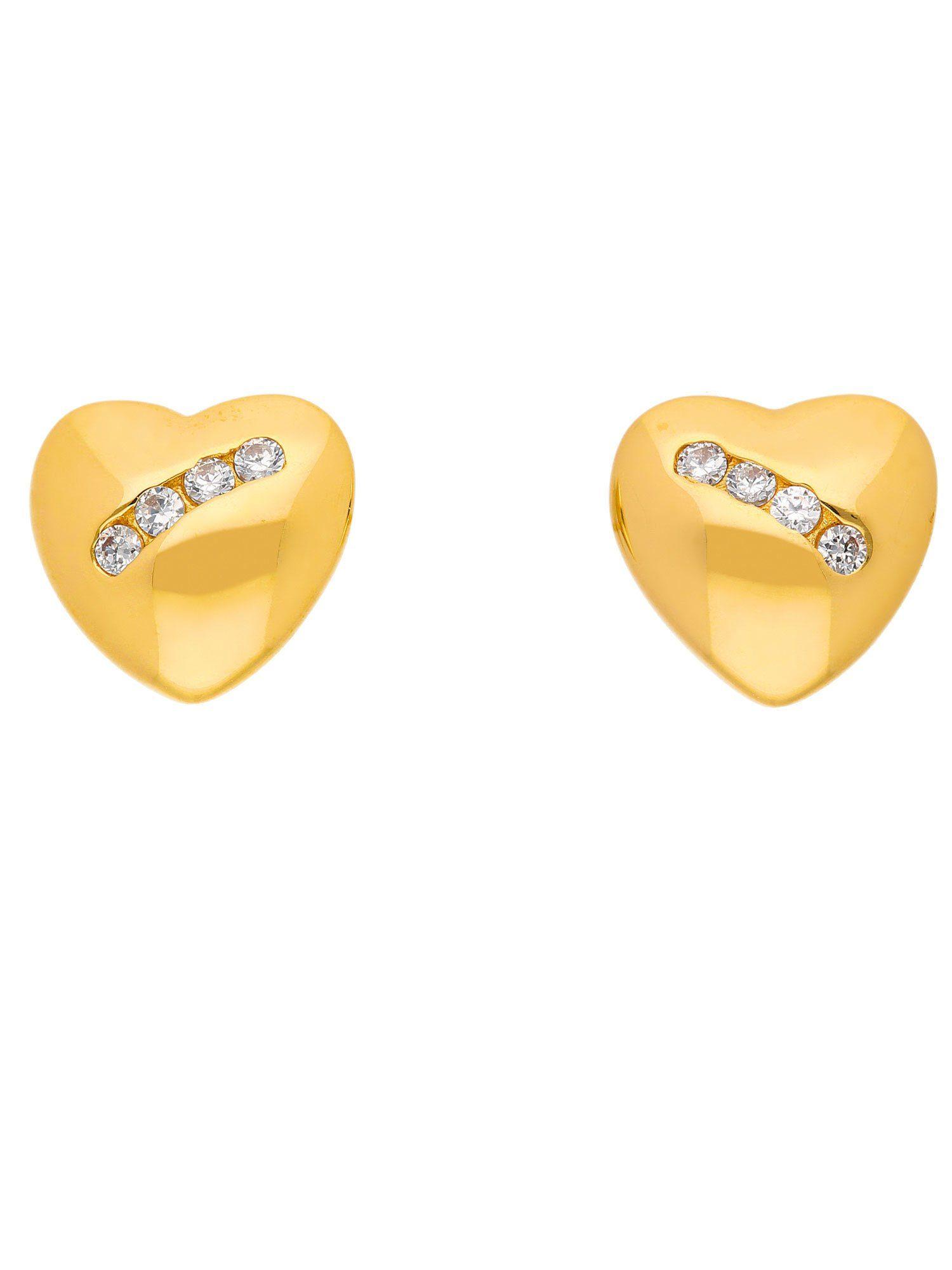 Adelia´s Paar Ohrstecker »Gold 8 k (333) Ohrringe - Ohrstecker« Herz 8 k 333 Gelbgold mit Zirkonia