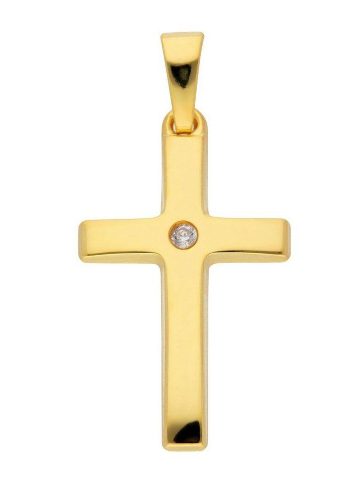 Adelia´s Kettenanhänger »Gold 8 k (333) Kreuz Anhänger« 8 k 333 Gelbgold mit Zirkonia | Schmuck > Halsketten > Ketten ohne Anhänger | Goldfarben | Adelia´s
