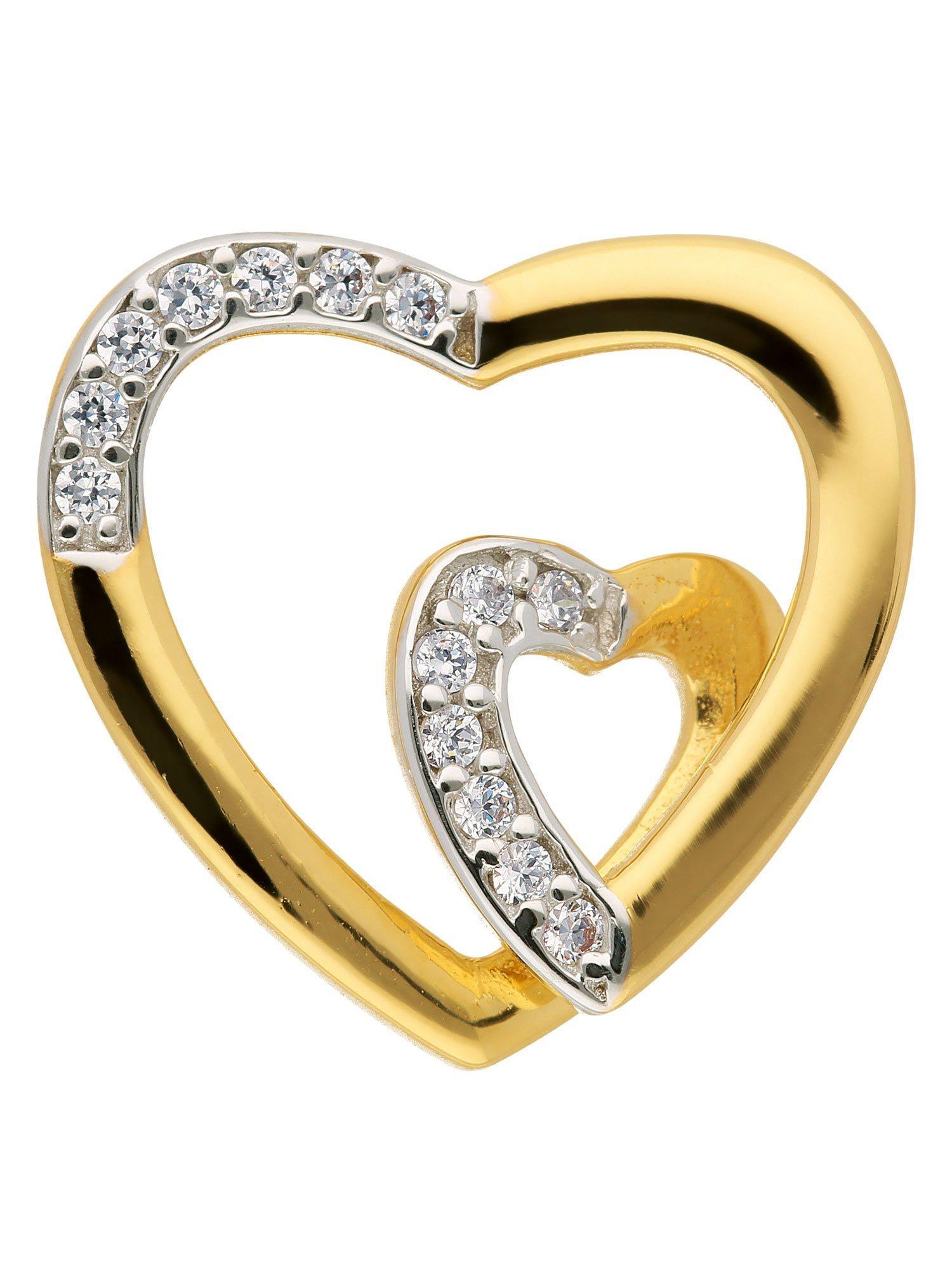 Adelia´s Kettenanhänger »Gold Anhänger« Herz 8 k 333 Gelbgold mit Zirkonia | Schmuck > Halsketten > Ketten ohne Anhänger | Adelia´s
