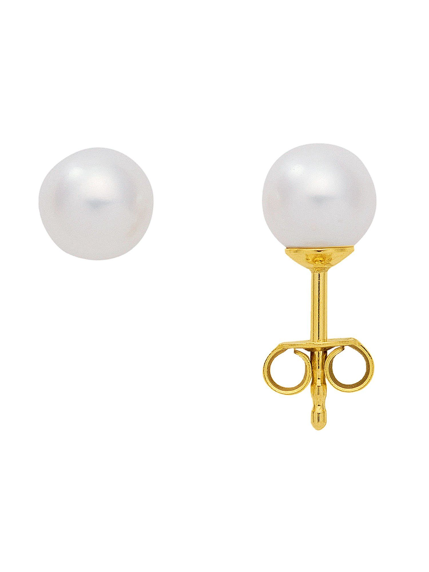 Adelia´s Paar Ohrstecker »Gold Ohrringe« 14 k 585 Gelbgold mit Süßwasser Zuchtperle Ø 7 mm