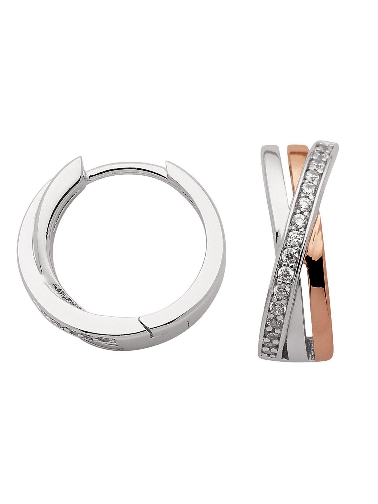 Adelia´s Paar Creolen »Silber Ohrringe« 925 Sterling Silber mit Zirkonia Ø 1.58 cm
