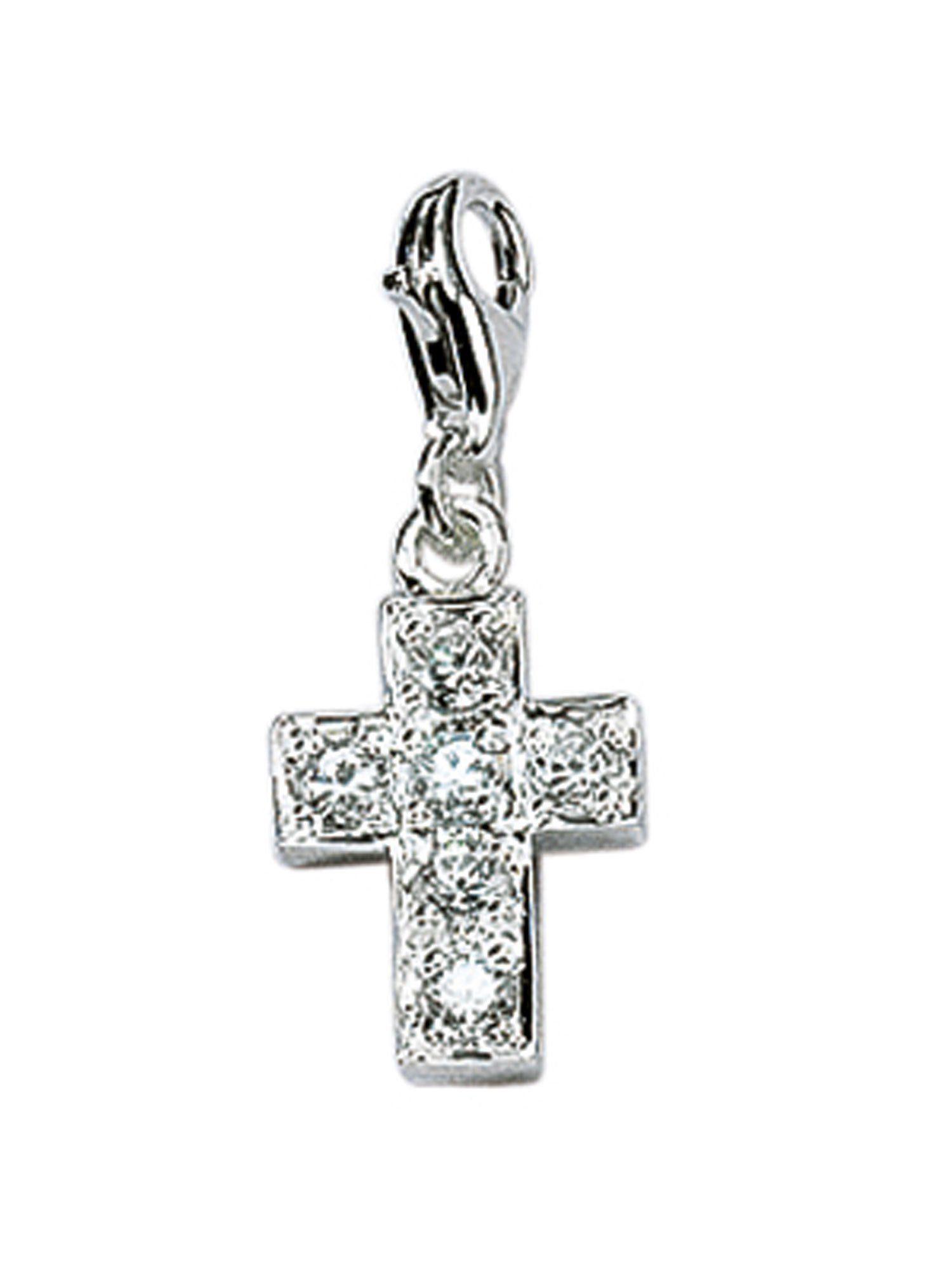 Adelia´s Charm-Einhänger »Silber Anhänger« Kreuz 925 Sterling Silber mit Zirkonia