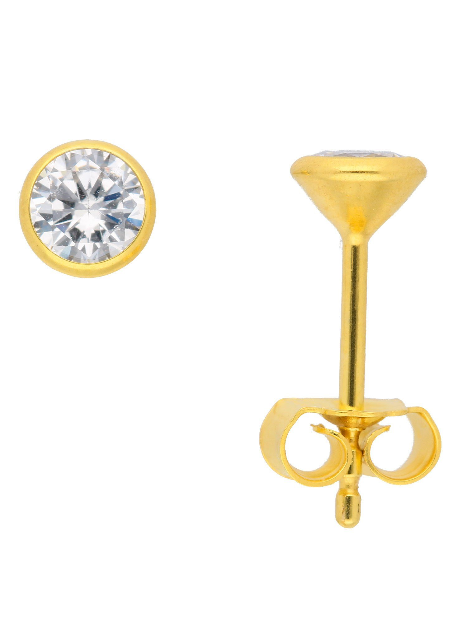 Adelia´s Paar Ohrstecker »Gold Ohrringe« 8 k 333 Weißgold mit Zirkonia Ø 4.5 mm | Schmuck > Ohrschmuck & Ohrringe > Ohrstecker | Adelia´s