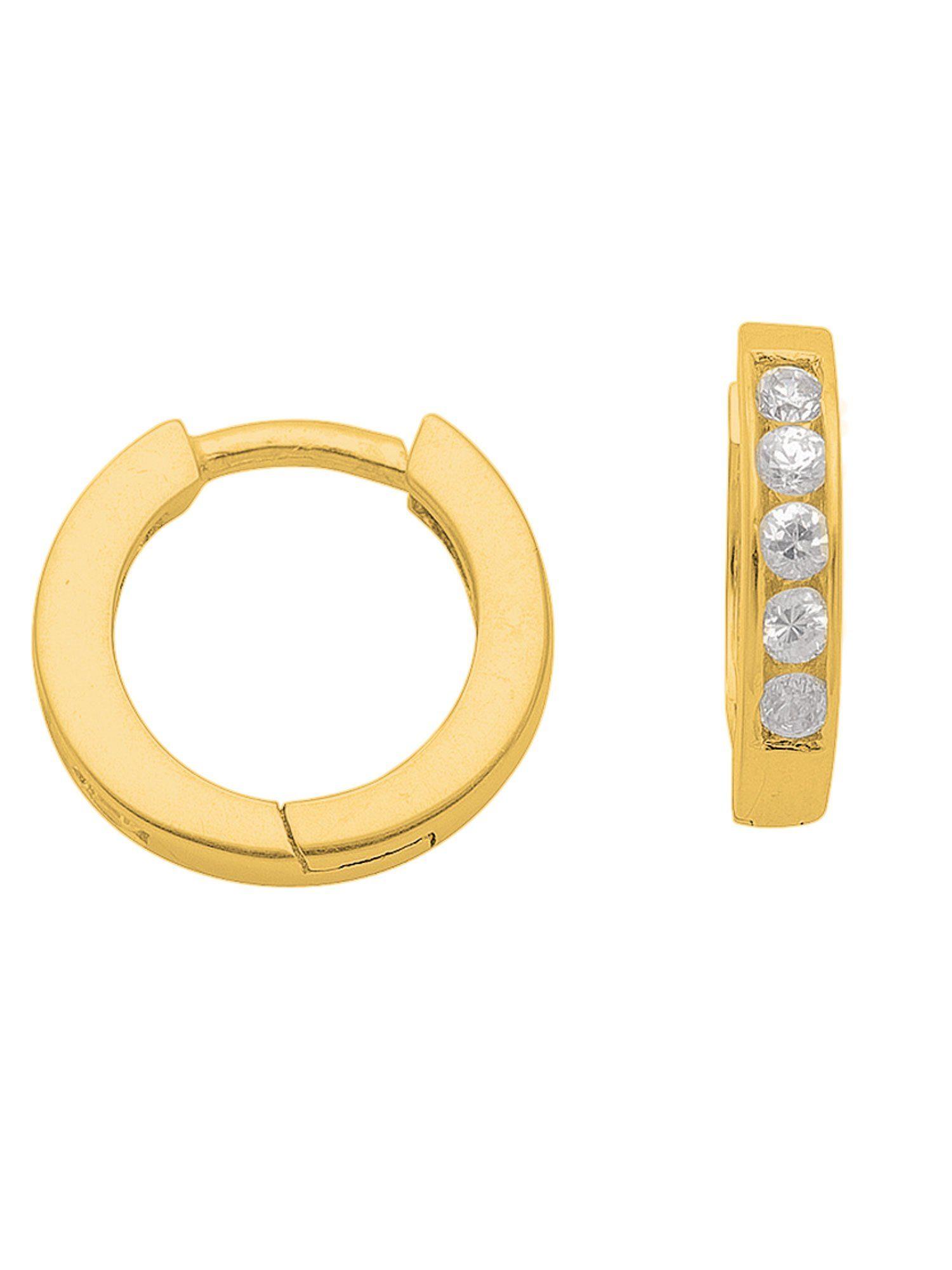 Adelia´s Paar Creolen »Silber Ohrringe« 925 Sterling Silber vergoldet mit Zirkonia Ø 1.18 cm