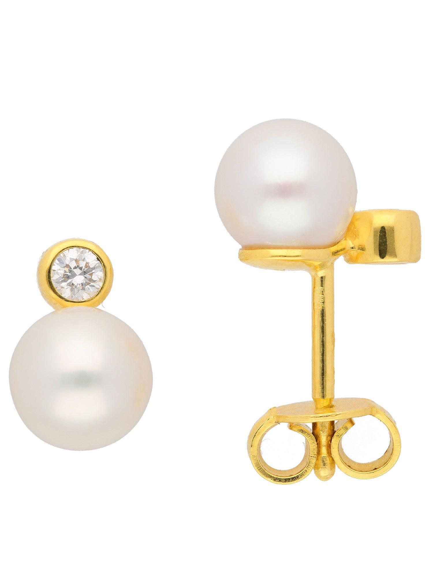 Adelia´s Paar Ohrstecker »Gold Ohrringe« 14 k 585 Gelbgold mit Süßwasser Zuchtperle   Schmuck > Ohrschmuck & Ohrringe > Ohrstecker   Goldfarben   Adelia´s