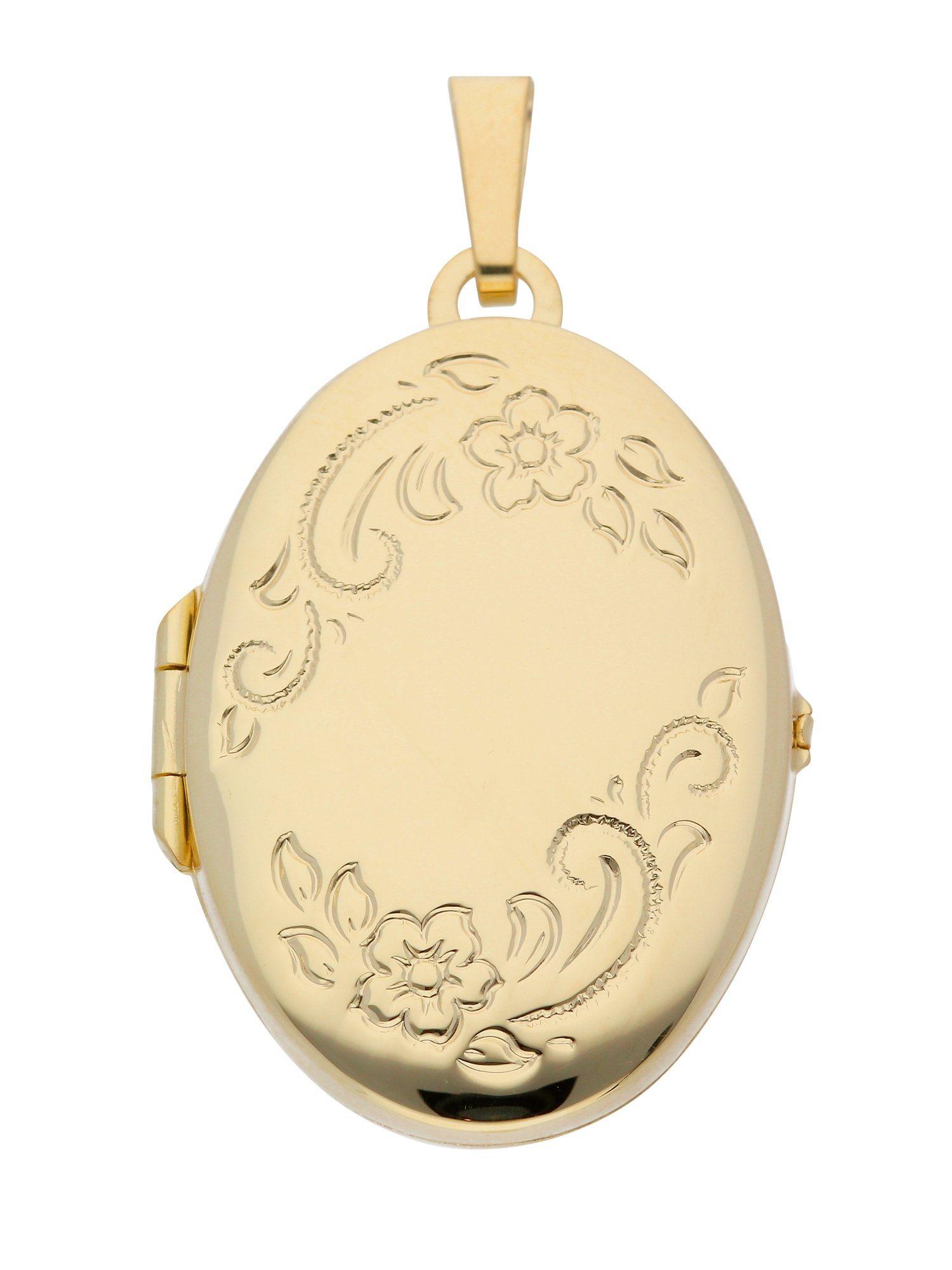 Adelia´s Kettenanhänger »Medaillon Gold Anhänger« 14 k 585 Gelbgold | Schmuck > Halsketten > Ketten ohne Anhänger | Goldfarben | Adelia´s