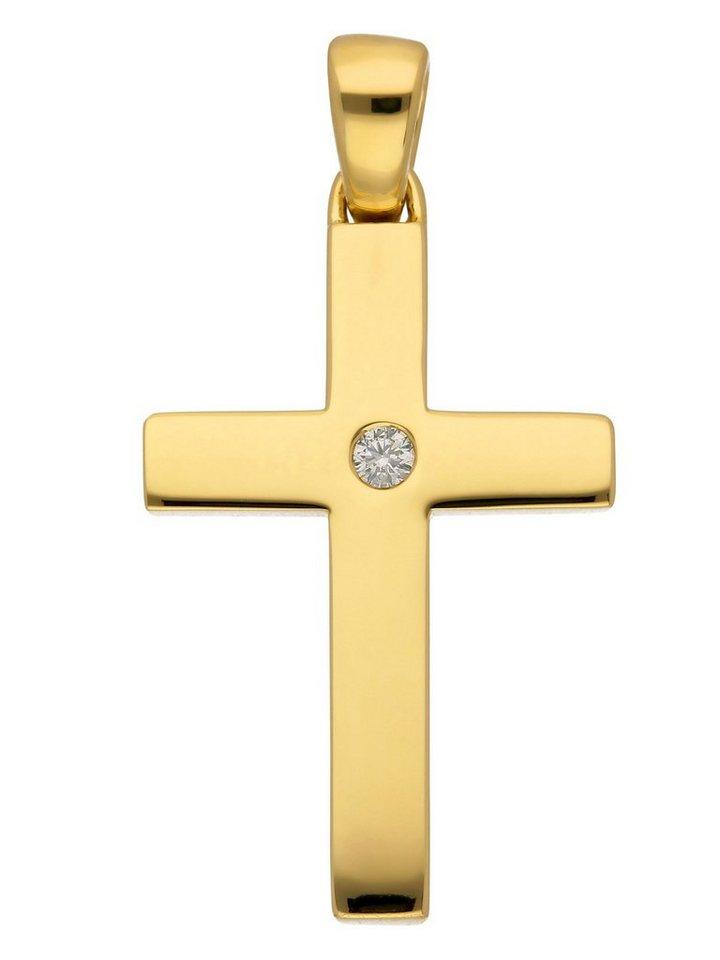 Adelia´s Kettenanhänger »Gold 14 k (585) Kreuz Anhänger« 14 k 585 Gelbgold mit Brillant | Schmuck > Halsketten > Ketten ohne Anhänger | Goldfarben | Adelia´s