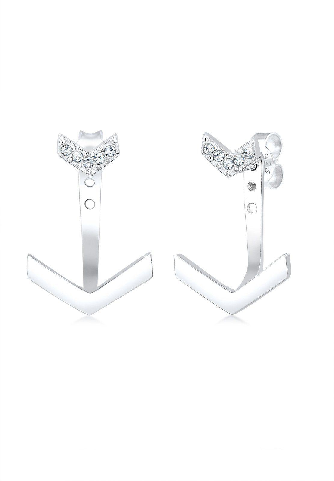 Elli Paar Ohrhänger »Geo Ear Jacket Swarovski® Kristalle 925 Silber«
