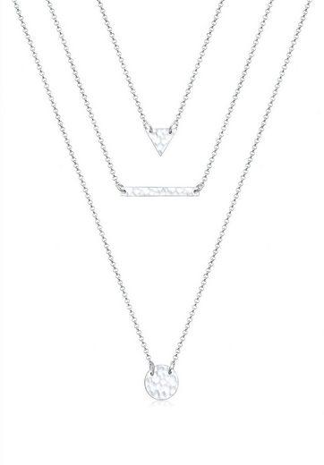Elli Collierkettchen »Geo Dreieck Kreis Layer gehämmert 925 Silber«