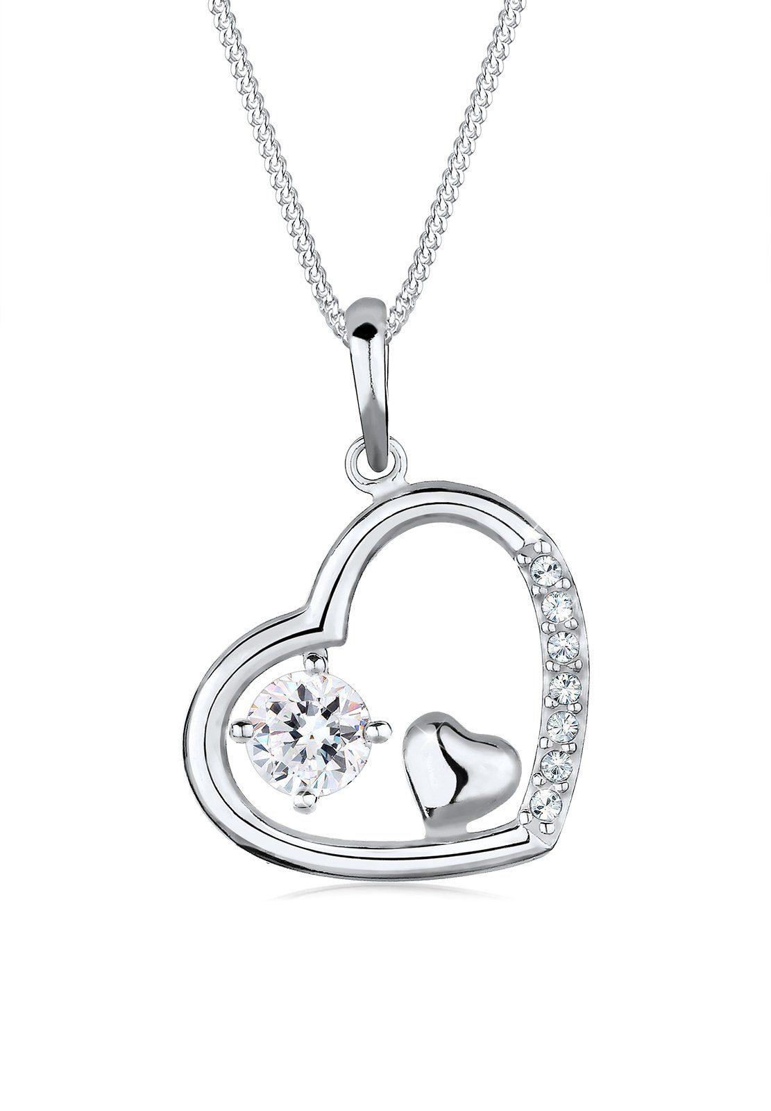 Elli Collierkettchen »Herz Swarovski® Kristalle Darling 925 Silber«