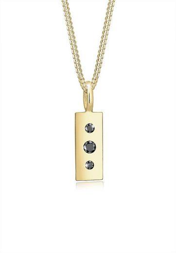 Elli Collierkettchen »Schwarzer Diamant (0.07 ct) Geo 375 Gelbgold«