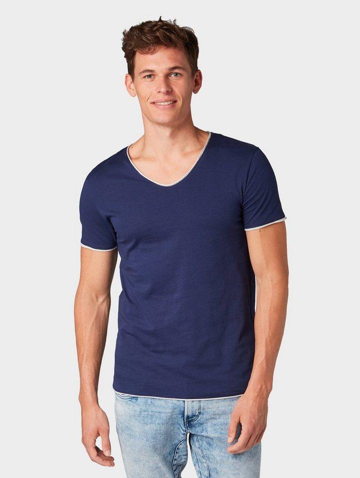 Herren TOM TAILOR Denim  T-Shirt T-Shirt mit kontrastfarbigem Underlayer blau | 04060868215585