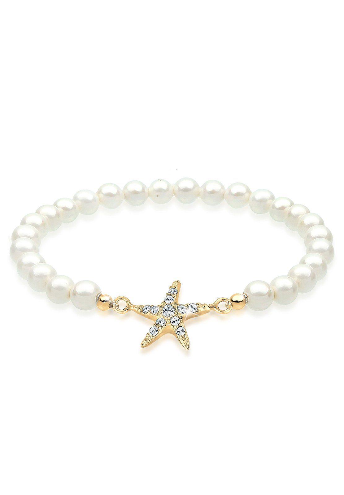 Elli Perlenarmband »Seestern Swarovski® Kristalle 925 Sterling Silber«