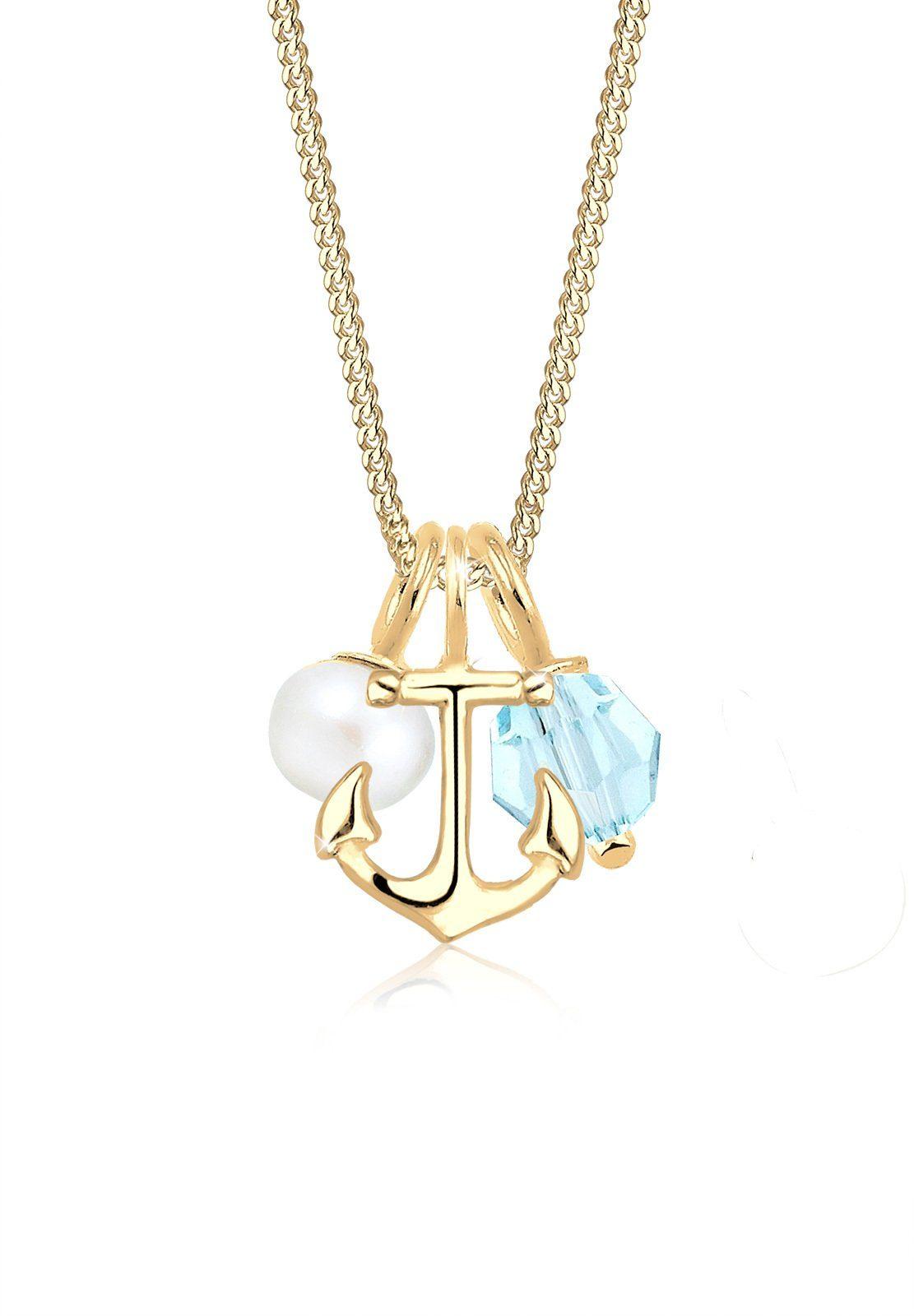 Elli Collierkettchen »Anker Perle Swarovski® Kristalle 925 Silber«