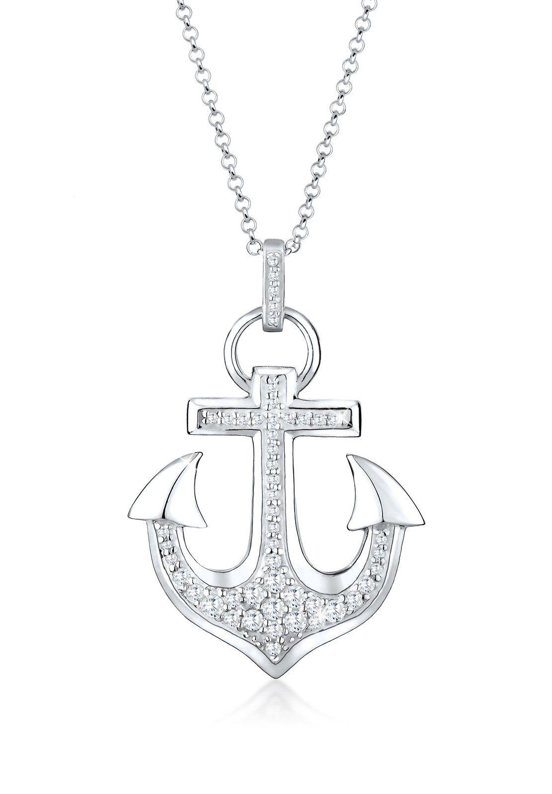 Elli Collierkettchen »Anker Hafen Zirkonia 925 Sterling Silber«
