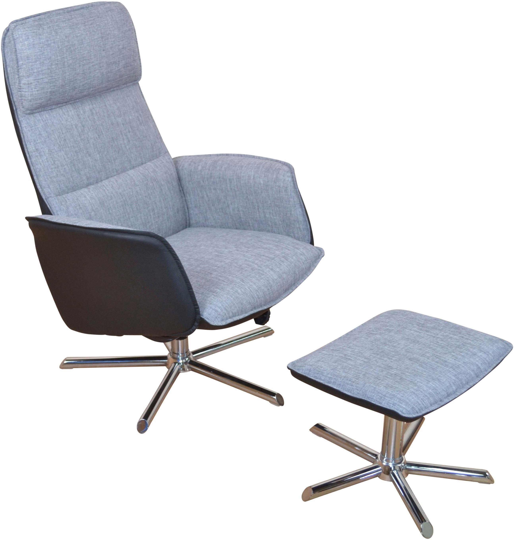 Home affaire Relaxsessel mit Hocker aus Metall verchromt (2er-Set)