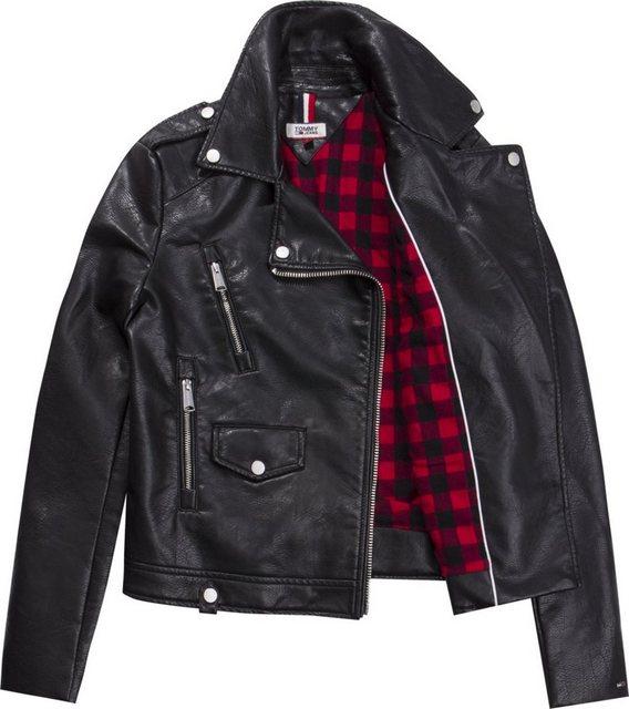 tommy jeans -  Lederjacke »TJW CHECK LINING BIKER JACKET«