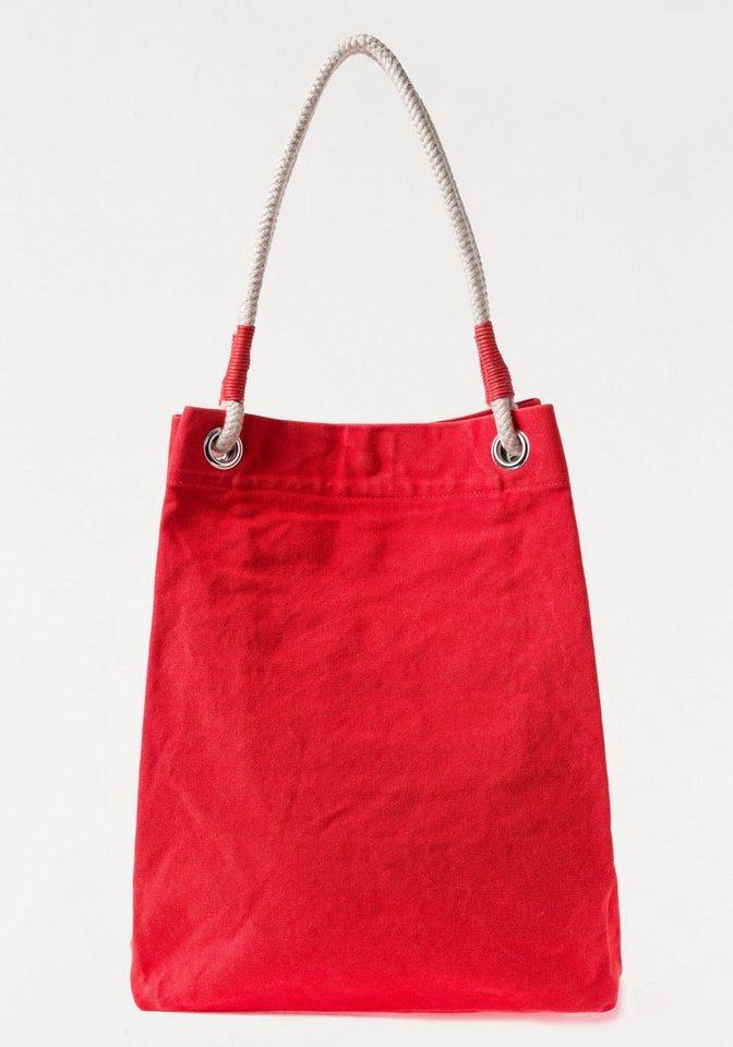 Damen Esprit Strandtasche mit festen Kordelträgern und Zierperlen rot | 04060469017601