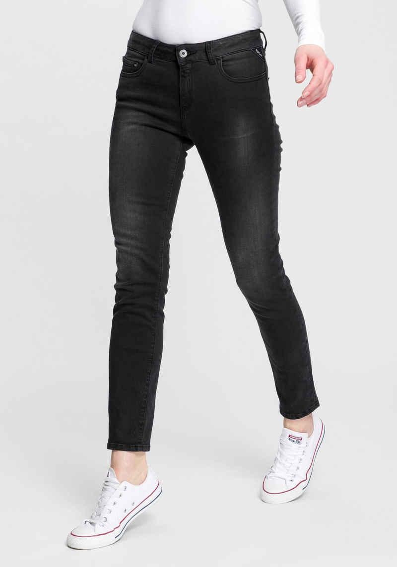 Replay 7/8-Jeans »Faaby« im Used-Look mit zartem Glitzer-Effekt