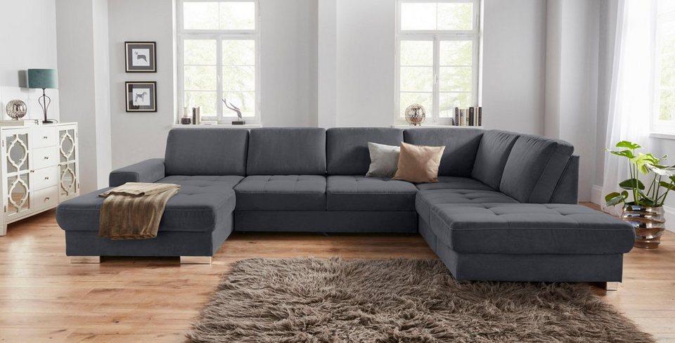 sit more wohnlandschaft mit federkern und sitztiefenverstellung wahlweise mit bettfunktion und. Black Bedroom Furniture Sets. Home Design Ideas
