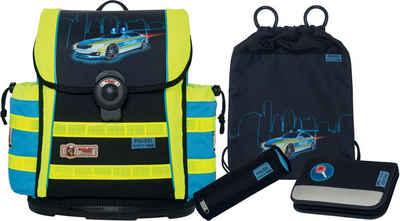 McNeill Schulranzen Set (4-tlg.) mit Blinklicht auf dem Überschlag, »ERGO Light 912 S DIN, Polizei«