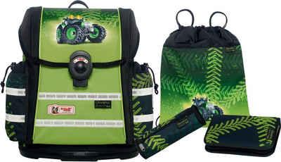McNeill Schulranzen Set (4-tlg.) mit Blinklicht auf dem Überschlag, »ERGO Light 912 S, Greentrac«