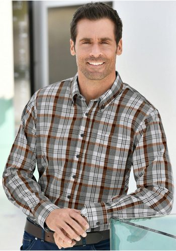 Herren Marco Donati Langarm-Hemd im attraktiven, gewebten Karodessin grau | 08901158169293