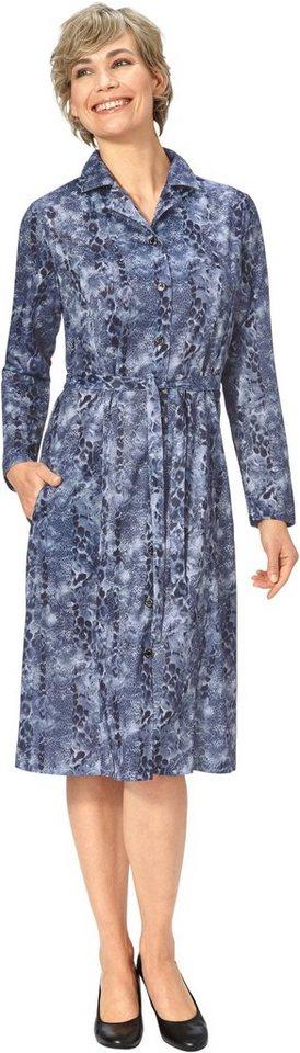 Damen Classic Basics Jersey-Kleid mit attraktivem Druck blau | 05425023251065