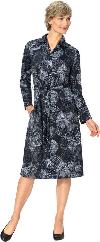 Damen Classic Basics Jersey-Kleid mit effektvollem Grafik-Druck schwarz | 05425023249581