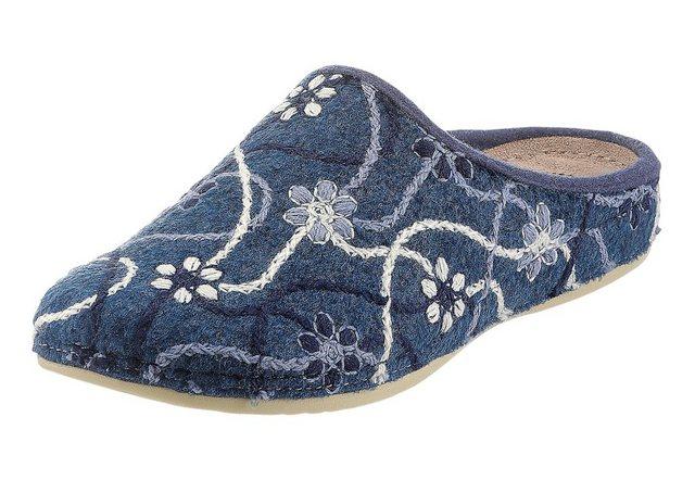 Damen Mubb Pantolette mit Gel Massage-Fußbett blau | 04260542642021