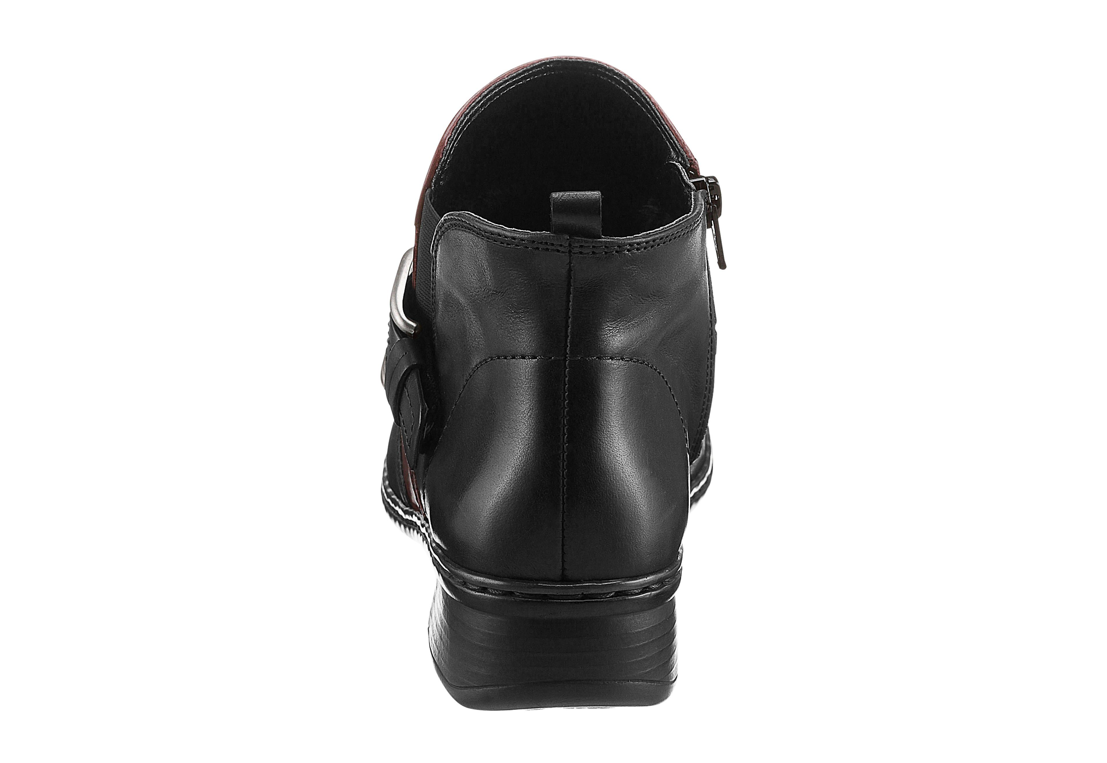 Jenny Stiefelette mit rutschhemmender PU-Laufsohle  schwarz-bordeaux