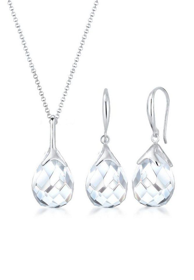 Elli Schmuckset »Set  Tropfen Bergkristall Klassik 925 Sterling Silber« (Set,  2 tlg) 914b098335
