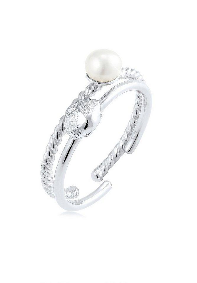 Elli Perlenring »2er Set Muschel Süßwasserzuchtperle 925 Silber«