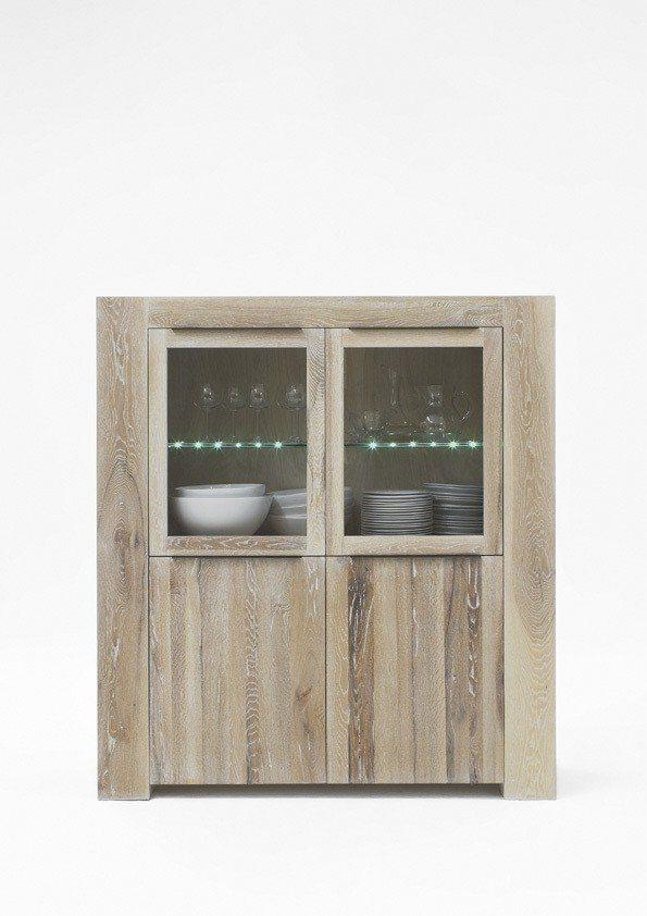 Kasper-Wohndesign  Highboard Massivholz white wash mit oder ohne Beleuchtung MEMORIA braun | 04250385968297