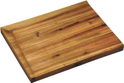 KESPER for kitchen & home Schneidebrett, Holz, mit abfallender Schneidfläche für Saftauffang