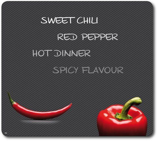 KESPER for kitchen & home Schneide- und Abdeckplatte »Paprika und Chili«, ESG-Sicherheitsglas, (1 tlg), Mit 9 Elastikfüßen je Platte