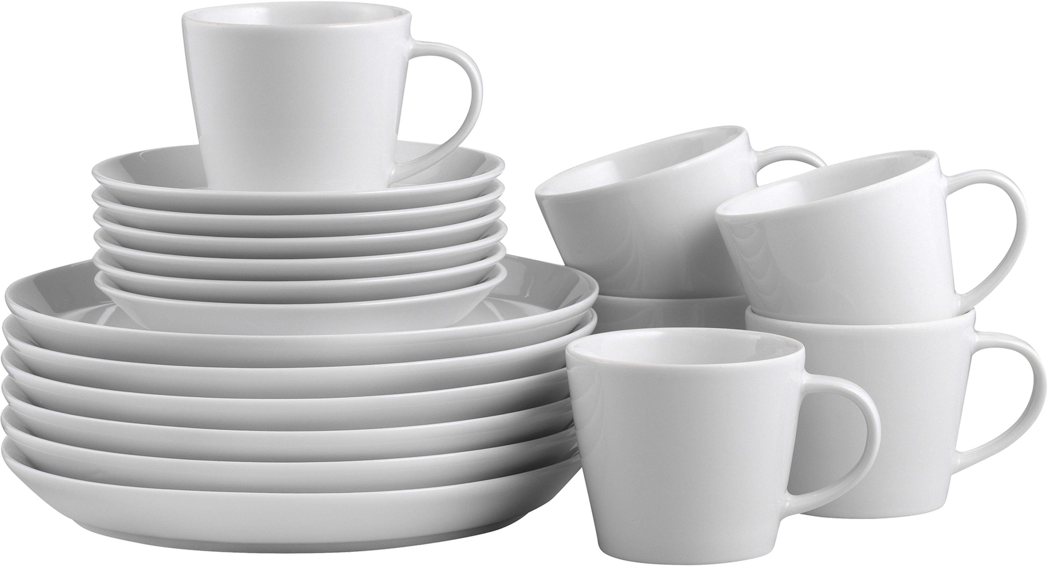 CreaTable Kaffeeservice »TRENDY« (18-tlg), Porzellan, Mikrowellengeeignet