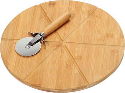 KESPER for kitchen & home Pizzaschneidebrett, Bambus, Edelstahl, (Set, 2-St), mit Pizzaschneider
