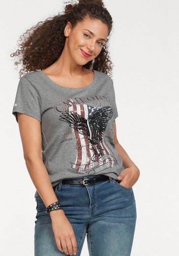 KangaROOS T-Shirt mit großem Flaggen-Front-Print