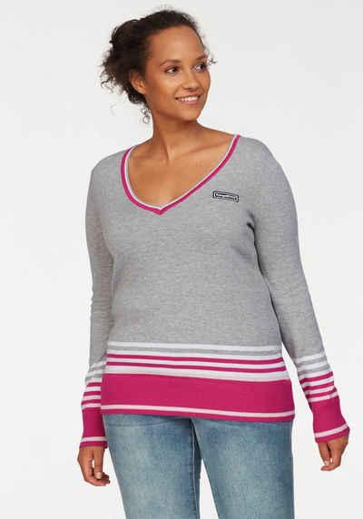KangaROOS V-Ausschnitt-Pullover im tollen Streifen-Farb-Mix
