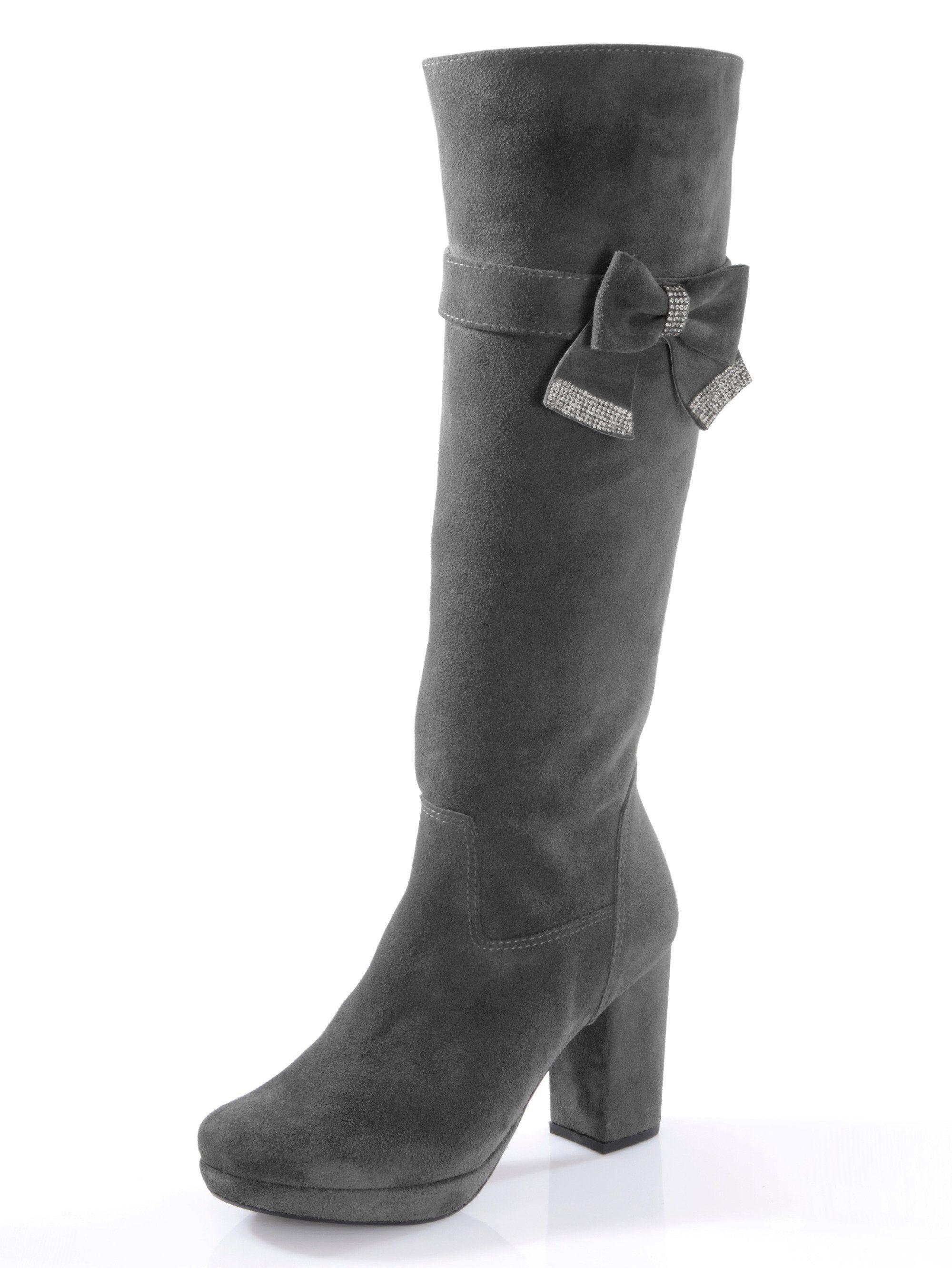 Alba Moda Stiefel aus geschmeidigem Ziegenveloursleder online kaufen  grau