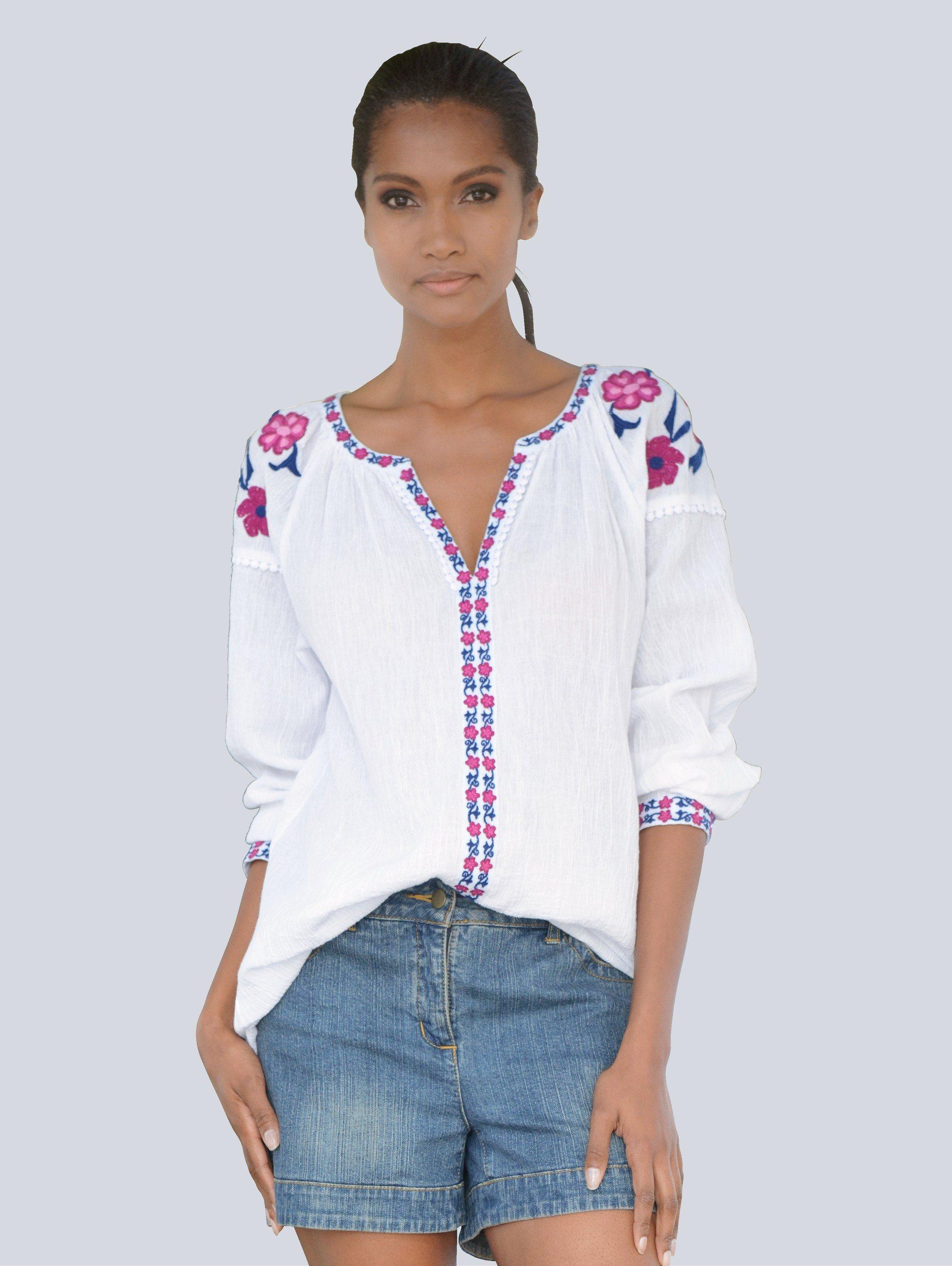 Alba Moda Tunika mit Blumenstickerei | Bekleidung > Tuniken > Sonstige Tuniken | Baumwolle | Alba Moda