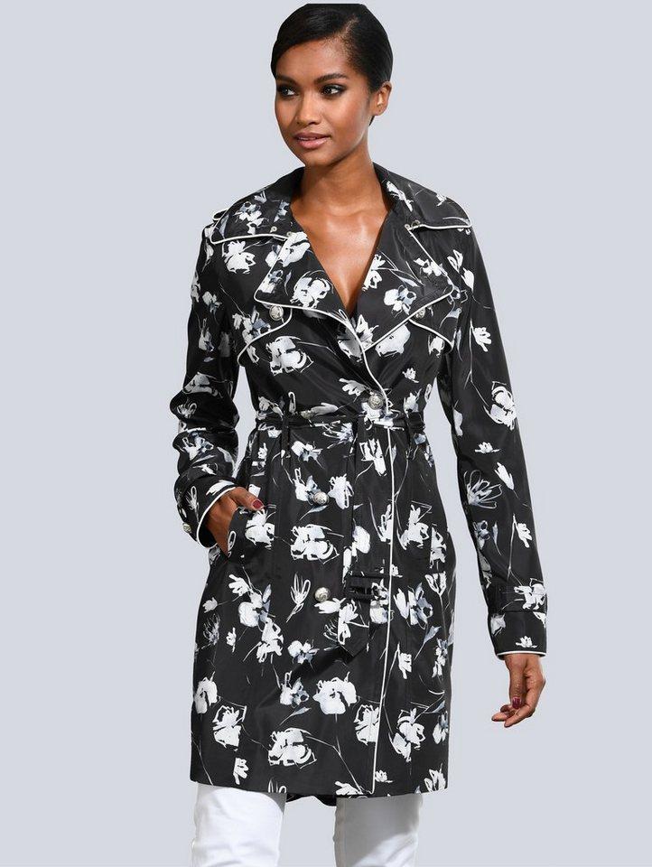 Damen Alba Moda  Trenchcoat im exklusiven  Print schwarz | 04055717169003