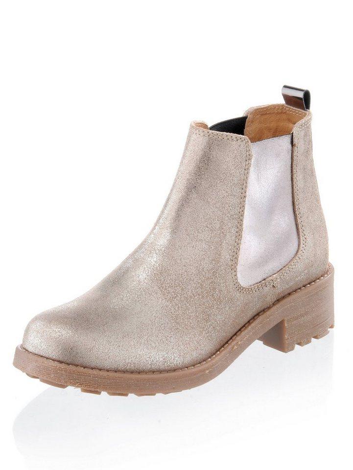 Damen Alba Moda Chelsea-Boot in Metallic-Optik im Millitary-Look braun | 04055717286441