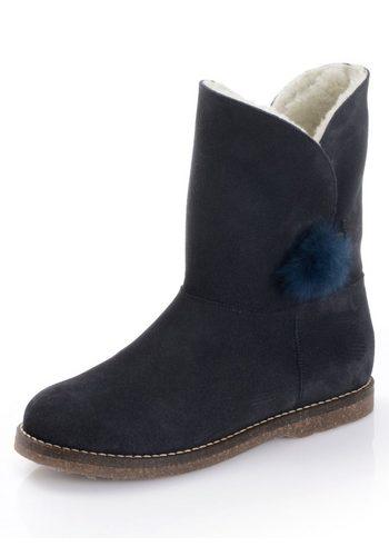 Damen Alba Moda Boot mit Kunstfellfutter blau | 04055717380330
