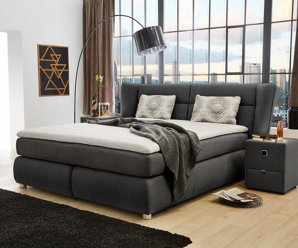 delife bett farell dunkelgrau 180x200 cm federkern otto. Black Bedroom Furniture Sets. Home Design Ideas